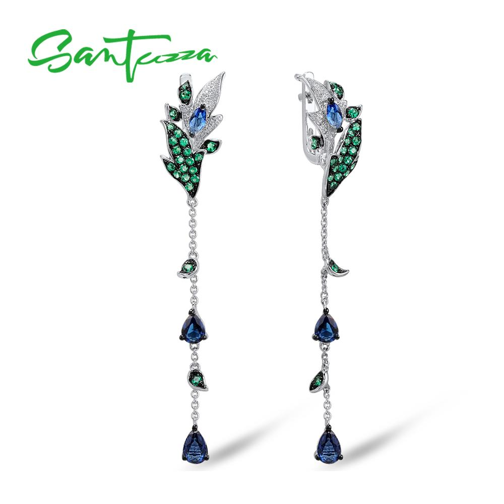 SANTUZZA Silver Earrings For Women 925 Sterling Silver Leaves Drop Earrings Long Silver 925 white Cubic Zirconia Fashion Jewelry цена 2017