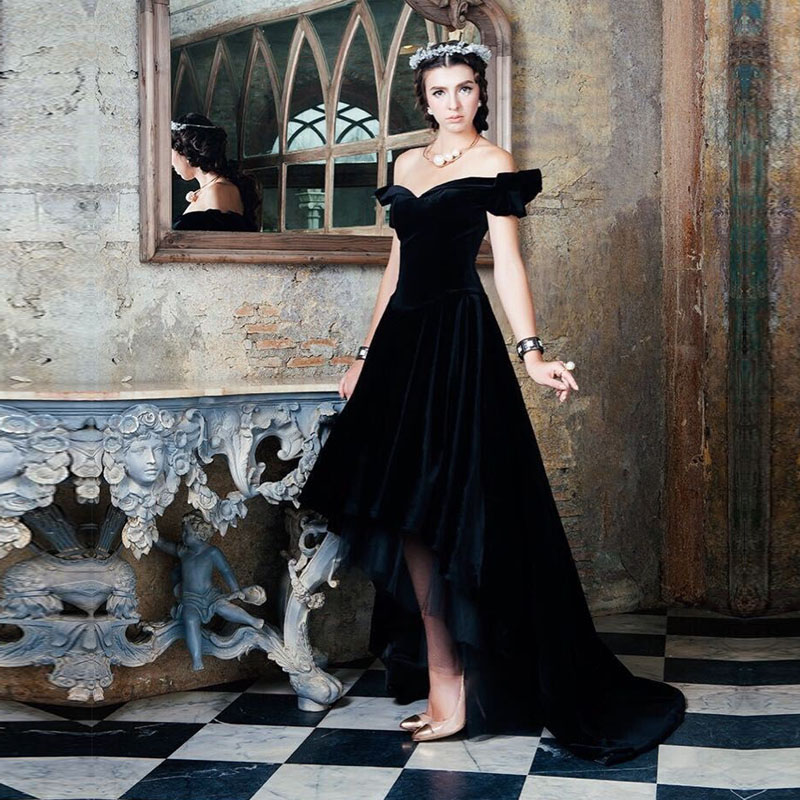 366ec5cd64 A line Off Shoulder Short Sleeve Black Velvet vestido de festa Evening Dress  robe de bal longue 2015 High Low Prom Dresses