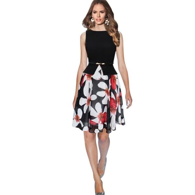 Alibaba Aliexpress Vintage Fiori di Stampa Vestito Delle Donne di Estate  Squisito Veste Femme Vogue Casual cfcbce8dc16