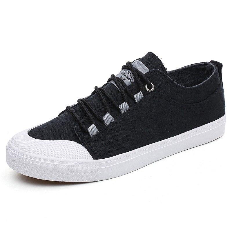 e1821313fa1 Solid Kaki Zwarte Canvas Schoenen Mannen Sneakers Casual Schoenen 2018  Nieuwe Mode mannen Flats Lace Up