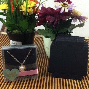 Image 3 - 1 lote = 100 cajas + 100 Uds. De cartón interior, 65x65x30mm, color blanco/Negro/Collar Kraft/caja para pendientes/Collar/anillo/conjunto de joyería