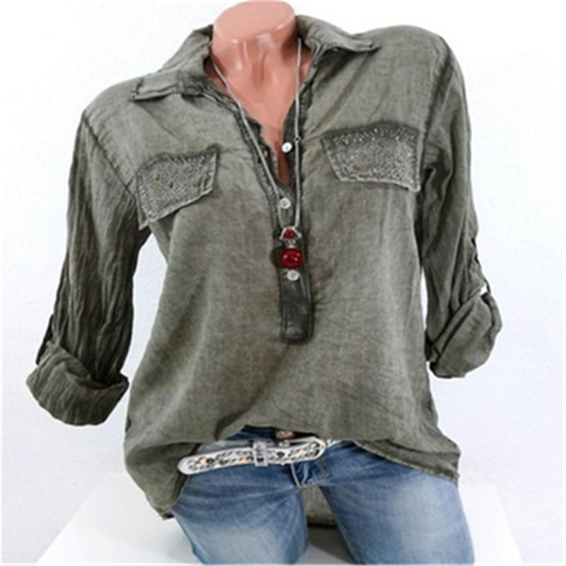 LASPERAL New Autumn Shirts Women Casual Long Sleeve Solid Color Blouses Elegant V Neck Pockets Top Femme Plus Size 5XL 1