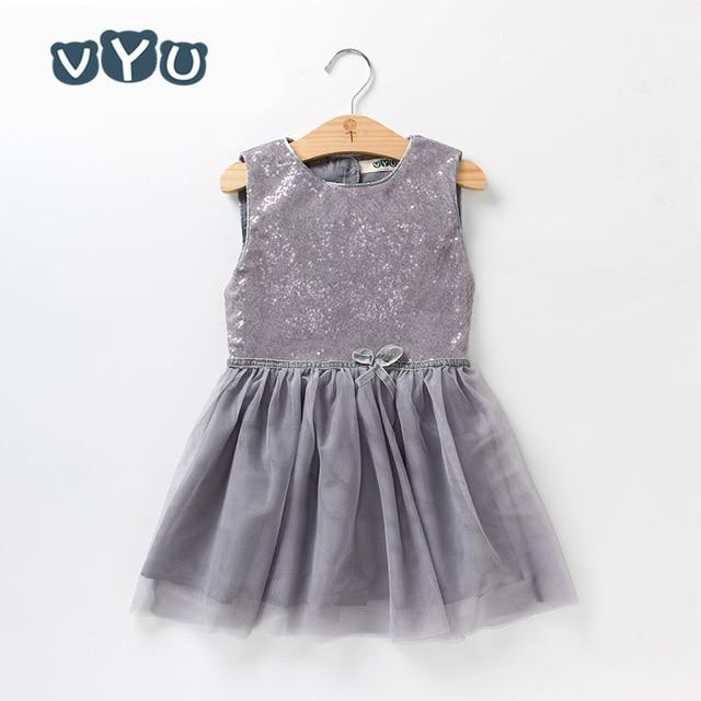 VYU Baby Girls Dress Sequins Sleeveless Vest Princess Dress 2018 Summer  Toddler Birthday Dress Cotton Mesh efb1554dba95