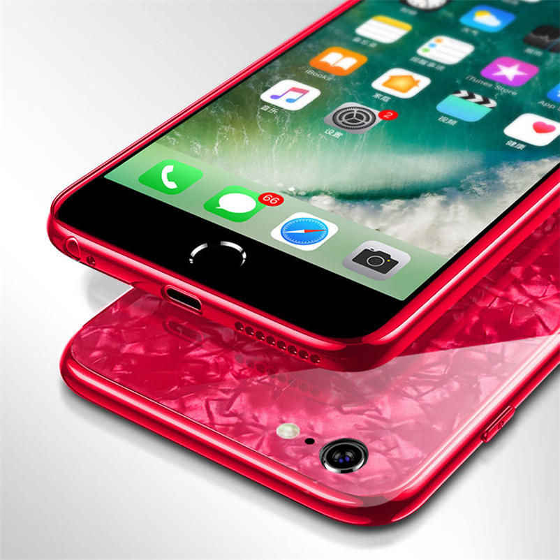 hot sale online 97501 43494 Luxury Dream Shell Case For iPhone 6 6S Plus Glossy Case For iPhone X XS XR  Max 8 7 Plus Soft Frame +Hard Glass Back Cover Coque