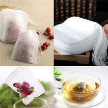 100 шт./лот, одноразовые чайные пакетики, пустые чайные пакетики со струной, фильтрующая бумага для травяной листовой чай, нетканые чайные пакетики