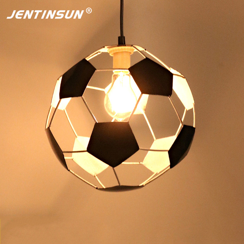 купить 26cm New Round Soccer Ball LED Meal Pendant Light Creative Retro Iron Industry Hanging Lamp for Restaurant Bar Indoor Lighting недорого