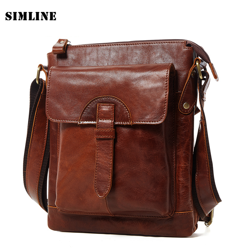New Luxury Vintage Casual 100% Top Genuine Oil Wax Leather Cowhide Men Messenger Shoulder Bag Men's Crossbody Bag Bags For Men купить