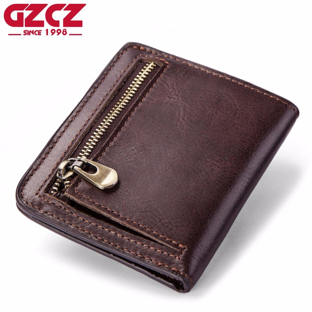 GZCZ High Quality Men'S Genuine Leather Wallet Vintage Short Male Wallets Zipper Poucht Male Purse Money Bag Portomonee Cheap