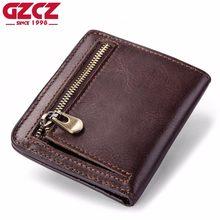 07534d33af3f GZCZ высокое качество мужской пояса из натуральной кожи кошелек Винтаж  Короткие Мужской женские кошельки на молнии
