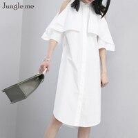 Джунгли Me Новый стиль белое платье без бретелек листьев лотоса рукава линия Платья для женщин Street Стиль Однотонная повседневная обувь Womem ...