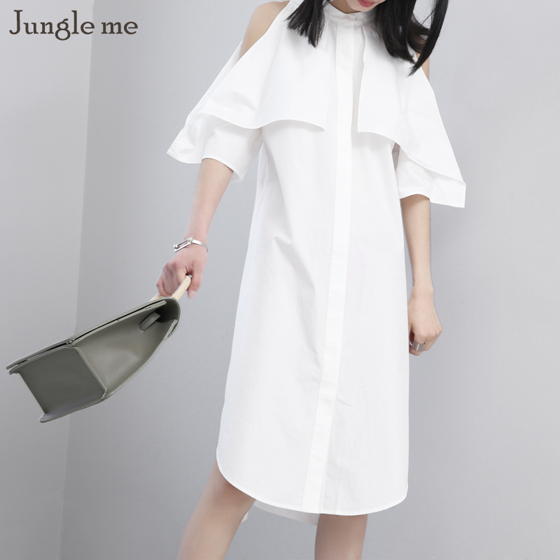 Jungle me New Style Bretelles Blanc robe Lotus Feuille Manches une ligne Robes Rue Style Solide Casual Womem Robes Plus taille