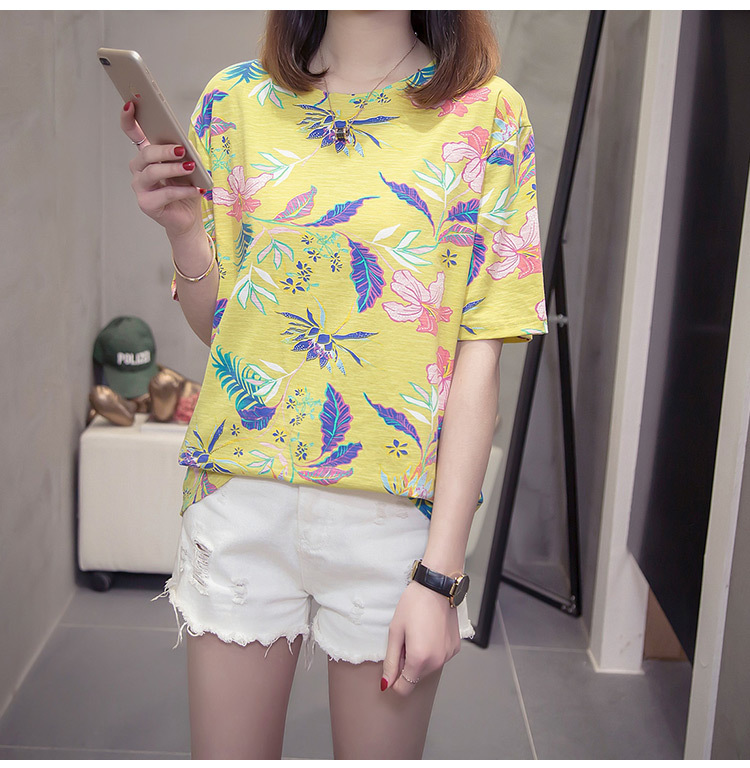 Nkandby Flower Print Summer T-shirt For Woman Fashion Casual Short sleeve Ladies Tshirt 2019 New Bamboo Plus size Basic Tops 4XL 20