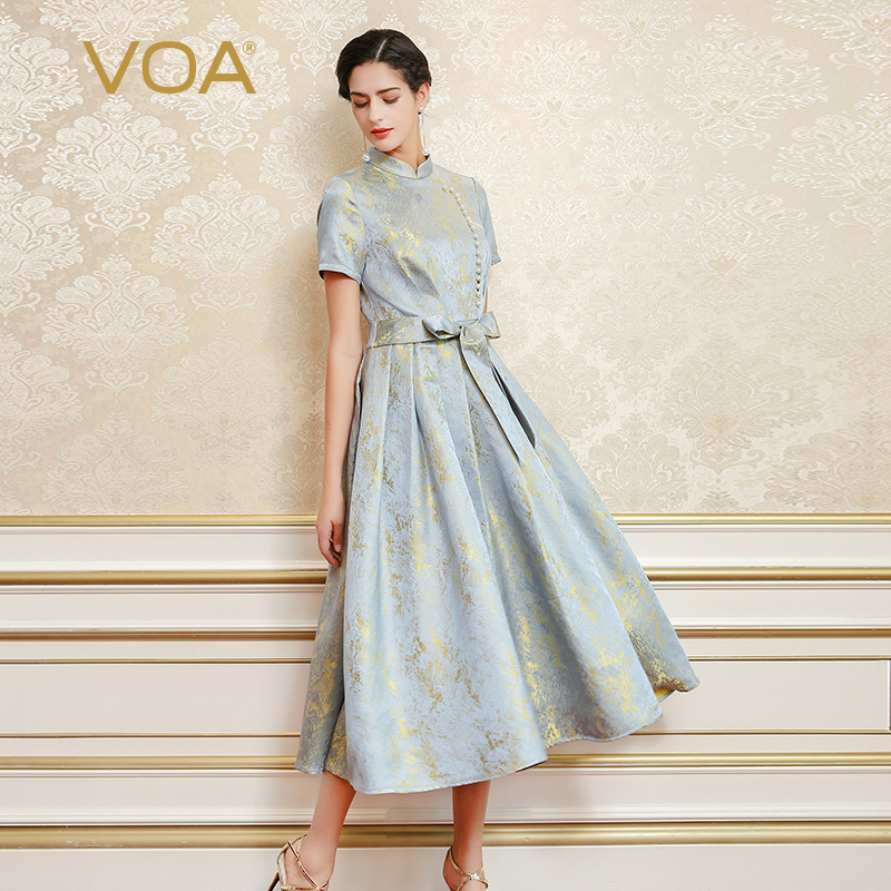 VOA 2017 Summer Elegant Vintage Silk Jacquard Party Dress Chinese Style Short Sleeve Pearl Buckle Lace