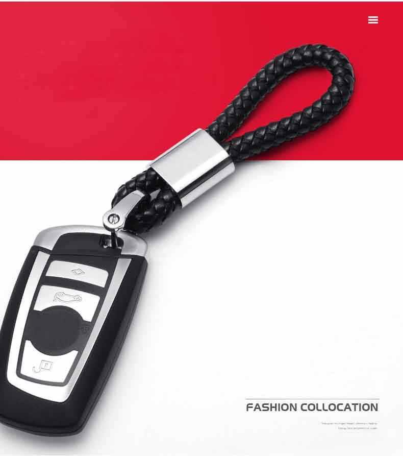 LLavero de coche de cuero tejido a mano de alta calidad con hebilla de herradura giratoria de 360 grados con llavero de joyería