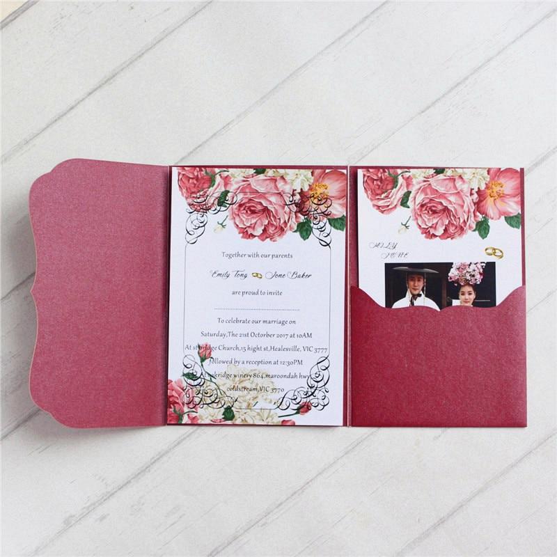Burgundy cards invitations pockets tri folded wedding invitation kits multi colors offer customized printing
