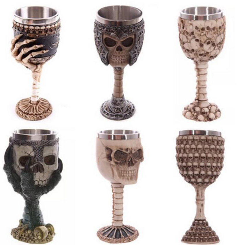 Unusual Stainless Steel Gothic Goblet Party Creative Drinking Glass 3D Skull Skeleton Punk Style Wine Glasses