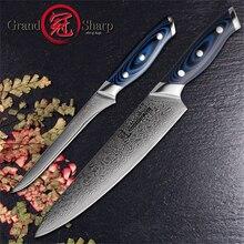 Grandsharp Дамаск ножи комплекты 2 предмета Кухня Ножи набор шеф-повар косточки Ножи 67 слоев VG10 японский Дамаск Сталь Кухня ножей