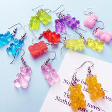 Cute Handmade Resin Colorful Cartoon Animal Bear Earring Unique Candy Color Drop Earring For Women Girl Funny Party Jewelry Gift(China)