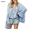 2017 Женщин Голубой Вышивкой Блузки Flare Рукавом Рубашки Моды С Длинными Рукавами Топы Camisa Feminina Плюс Размер Женщин Clothing