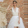 Unique Beautiful 2016 MGS High Low V-Neck Lace Short Wedding Dresses Beaded Waist Open Backless Vestido De Noiva Bridal Gowns