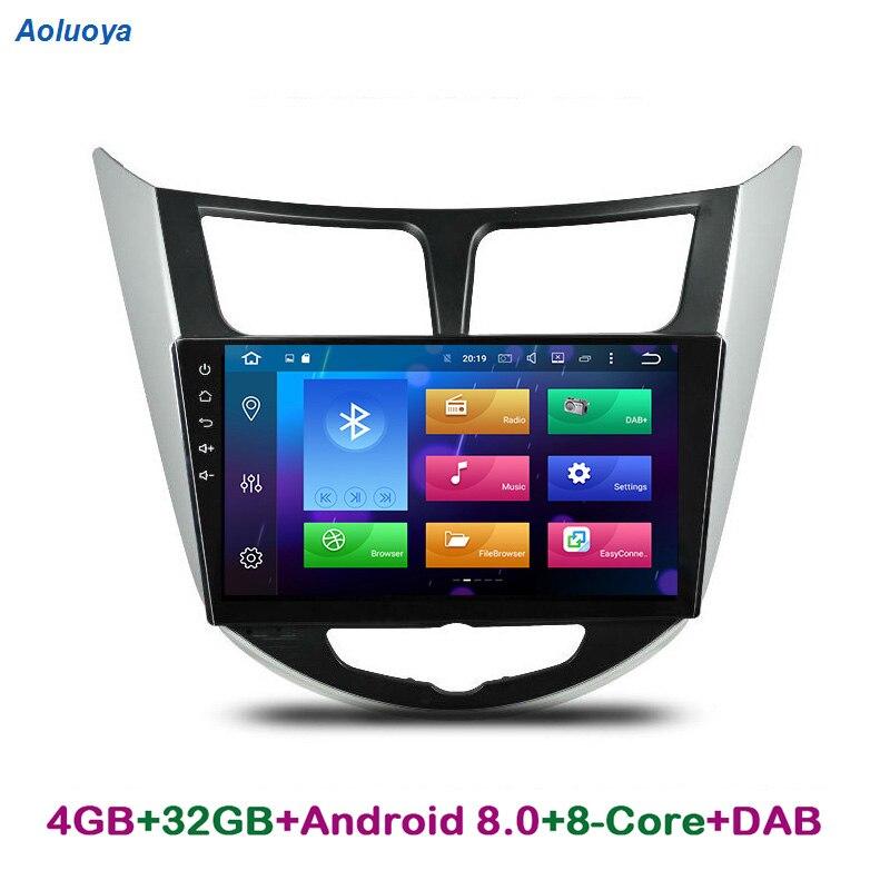 Aoluoya Оперативная память 4 ГБ Восьмиядерный Android 8,0 автомобиль DVD gps плеер для hyundai Verna акцент Solaries 2010-2015 радио навигация головное устройство