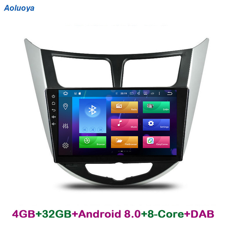 Aoluoya RAM 4GB Octa Core Android 8.0 CAR DVD GPS PLAYER For Hyundai Verna Accent Solaries 2010-2015 Radio Navigation head unit