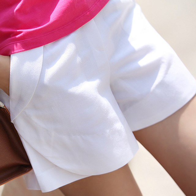 2017 Korea Summer Women Cotton Linen Shorts Plus Size S-3XL New Fashion Design Lady Casual Short Trousers Solid Color Z39