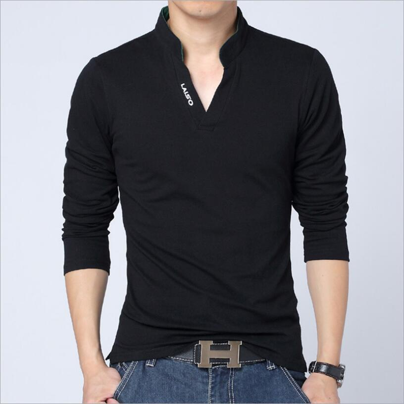 New Fashion V neck Men   polo   shirt Solid Color Long-Sleeve Slim Fit Shirt Men Cotton   polo   Shirts Casual Shirts 3XL Brand Wear