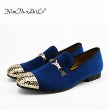 2019 Handmade Men velvet shoes with gold buckle and gold toes fashion Britain smoking slipper Wedding and Banquet men loafers