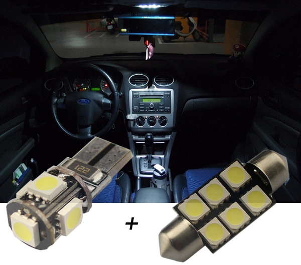 5pcsxcar Led Canbus Interior Parking City Lights Kit In