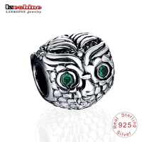 LZESHINE 925 Sterling Silver Charms Cute Wise Owl Dark Green Eye Beads Fit Charm Bracelet Bangle Real Silver Jewelry Making 0139