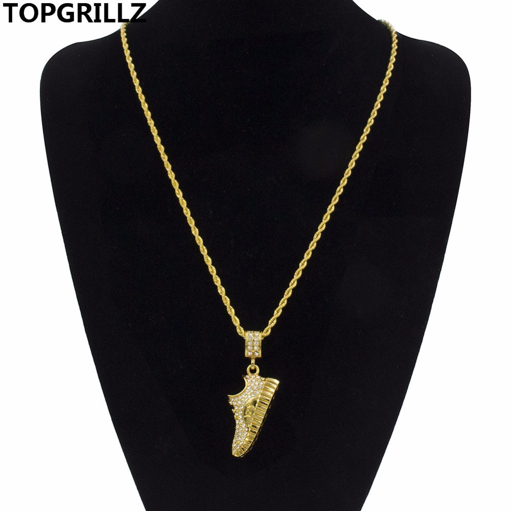 TOPGRILLZ Golden Tone Pendants Necklace Hip-Hop Running Beside The Jordan With Letters Sports Pendant Necklaces For Men Women