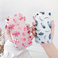 купить Cyato Relief Case For iphone 6 Case Blue Leaf Pink Girl Feather Matte Soft TPU Cover For iPhone 7 6 6S 8 Plus X Case Coque Capa дешево