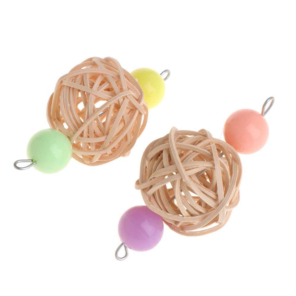 Parrot Toys Rattan Ball Colorful Hanging Cage Bird Parakeet Play Funny Bite Chew
