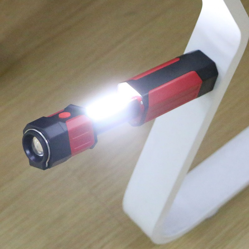 Portable 3W Strong Lighting Flashlight Multifunction Magnetic COB Retractable Flashlight Work Repair Lamp AAA*3