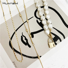 Multi-layer Metal Beads Line Lock Chain Necklace