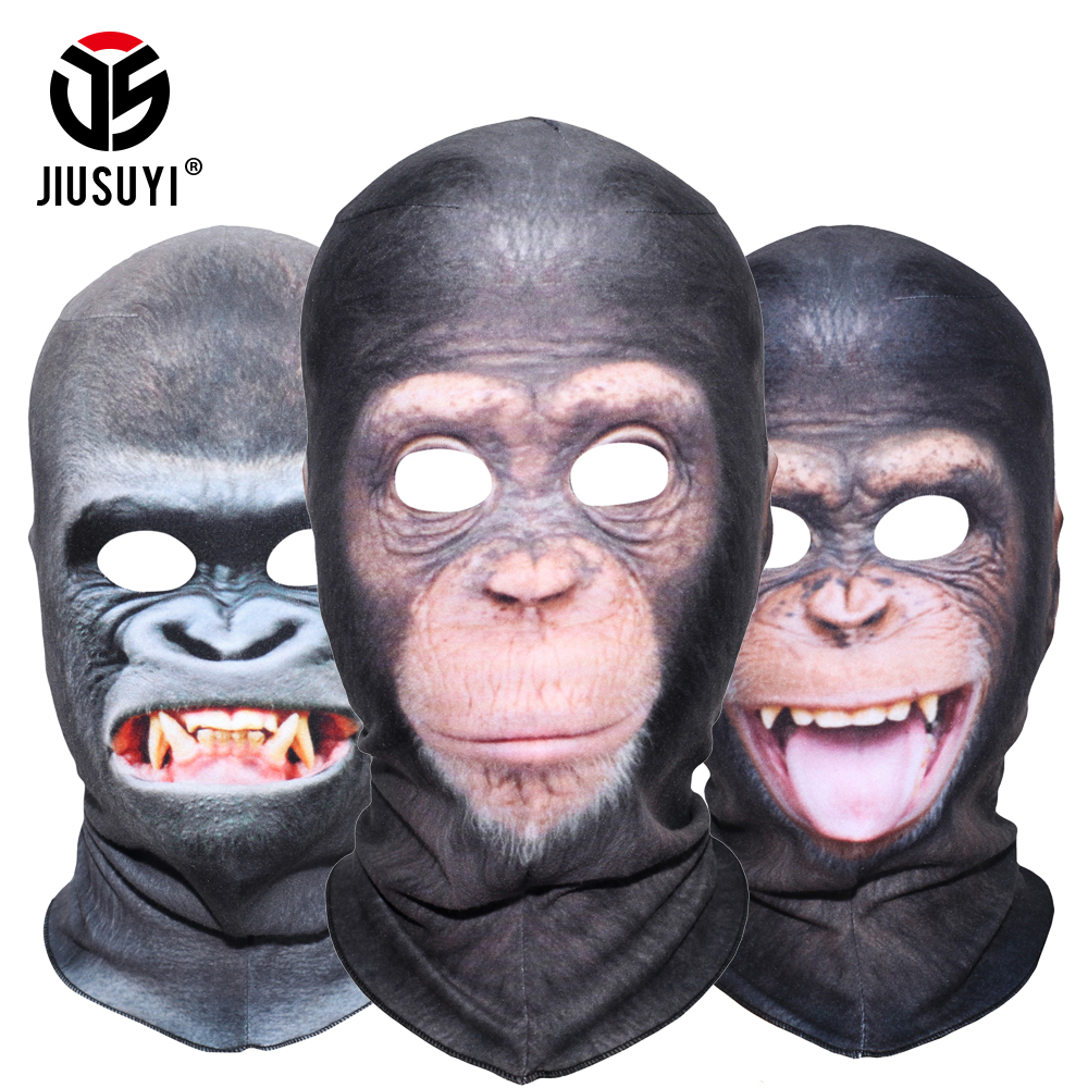 3D Animal Balaclava Orangutan Chimpanzee Ferocious Funny Thermal Wool Fleece Winter Neck Warmer Full Face Mask Halloween Party