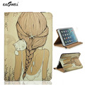 Cuero de la pu case para apple ipad air 2 ipad 6 para ipad mini 1 2 3 soporte inteligente tablet pc case cubierta de la historieta linda chica y cat 2016