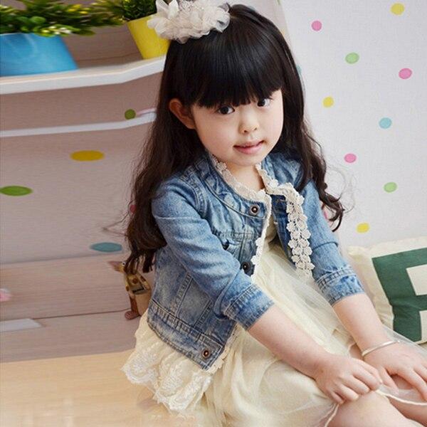 e743d21ec Girls Fashion Jean Jackets Kids Lace Coat Long Sleeve Button Denim Jackets  Outwear For Girls 2