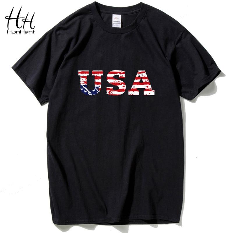 """HanHent ארה""""ב דגל אמריקאי חולצת טריקו גברים מותג ג'רזי 2016 חדש אופנה חולצת היפ הופ כושר גופני קצר שרוול גברים"""