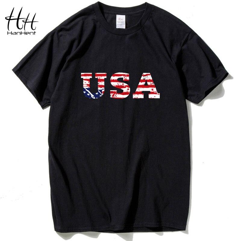 HanHent USA Drapeau Américain t shirt Hommes Marque Jersey 2016 Nouvelle Mode t-shirt Hip Hop Remise En Forme Court-à manches longues Hommes de Vêtements