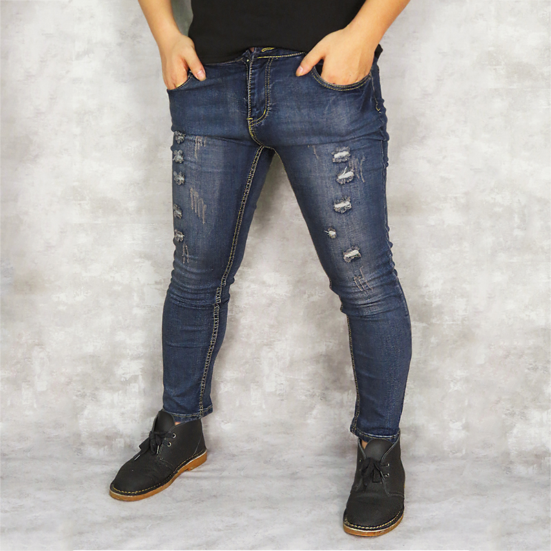 Cotton denim men's trousers retro hole cool trousers suitable for men spring summer European American style hole   jeans   men