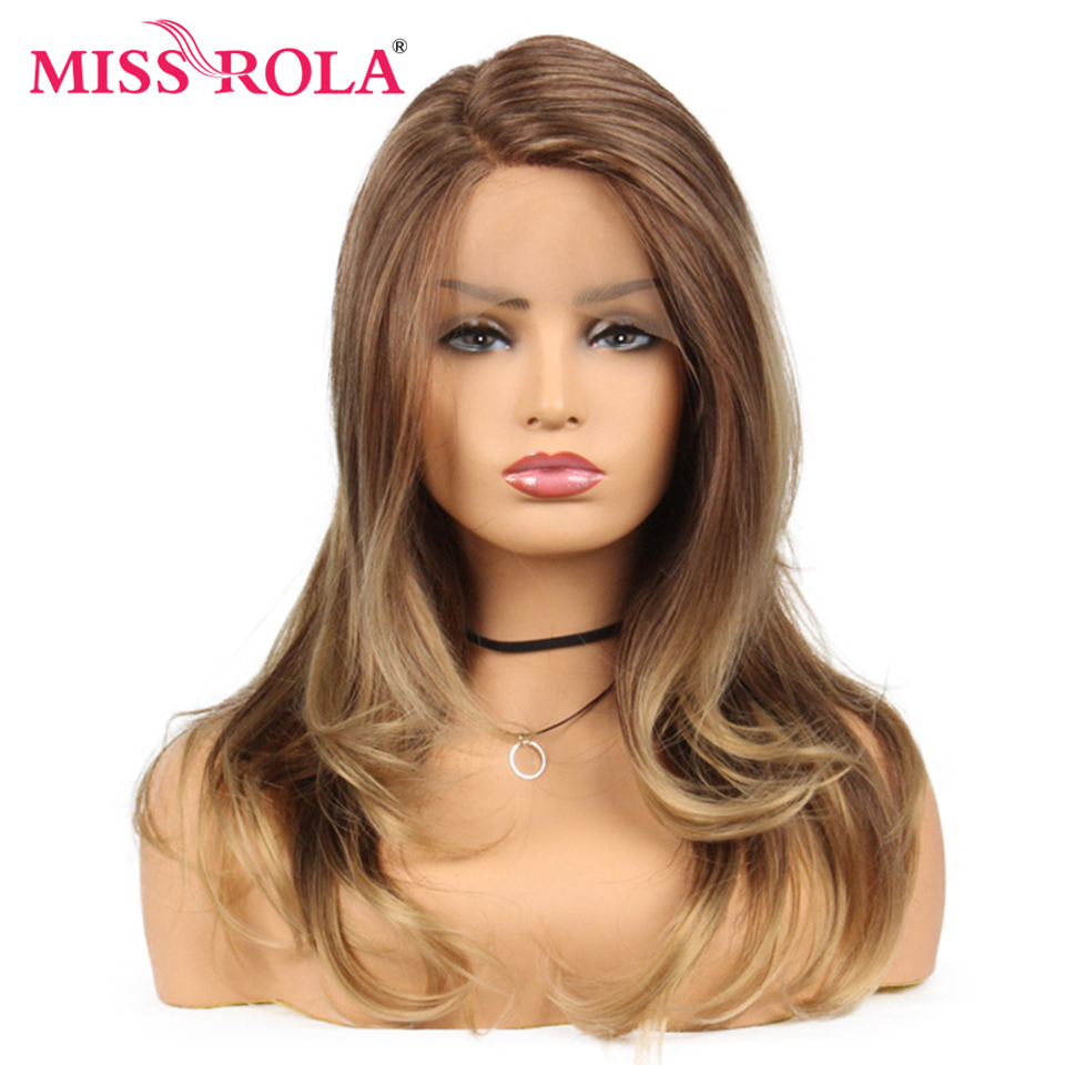 Miss Rola Long Wavy Ombre Brown Synthetic Lace Front Wig For Black Women Wig 150% Density 22 Inches Heat Resistant Fiber