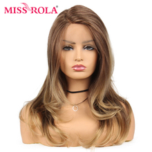 Miss Rola Long Wavy Ombre Brown Synthetic Lace Front Wig For