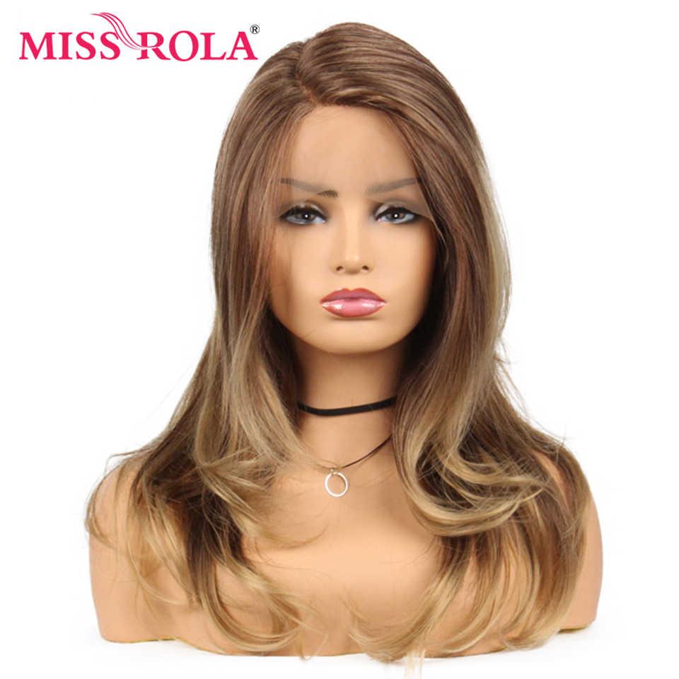 Nona Rola Panjang Berombak Ombre Coklat Renda Sintetis Depan Wig untuk Wanita Hitam Wig Kerapatan 150% 22 Inci Tahan Panas serat
