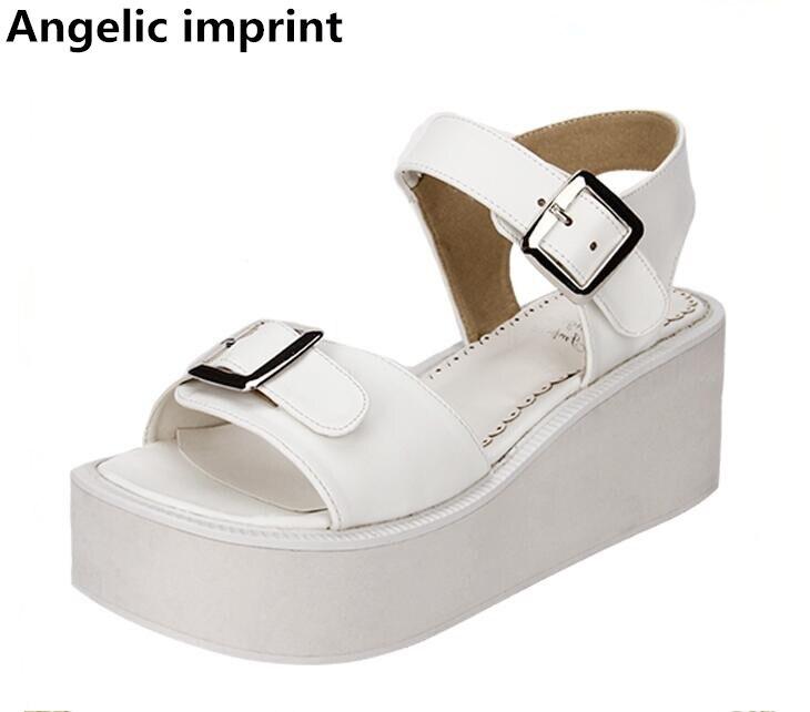 Angélique Femme Chaussures Sandales Cm Fille Pompes Talons Dame D'été Mori Montantes Empreinte Toe Robe Femmes Lolita Peep Coins 6 Princesse Haute 5R3LAqjc4
