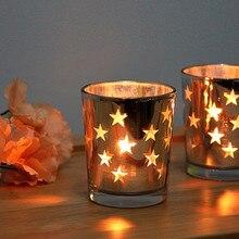 Простой Стекло бокал со свечкой серебрение Звезда Подсвечник Ресторан Бар реквизит подсвечники Bougeoir Mumluk лампы в форме свечи Фонари K25