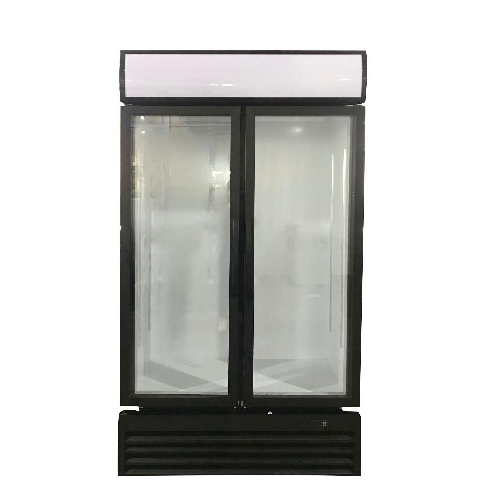 2 Glass Door Kitchen Refrigerator Single-temperature Freezers Showcase Brass Compressor