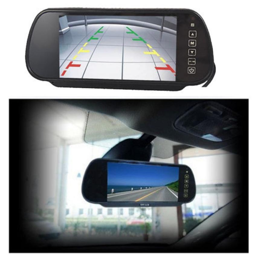 LCD Screen Car Rear View Backup Mirror Monitor and Wireless Reverse IR Camera 7