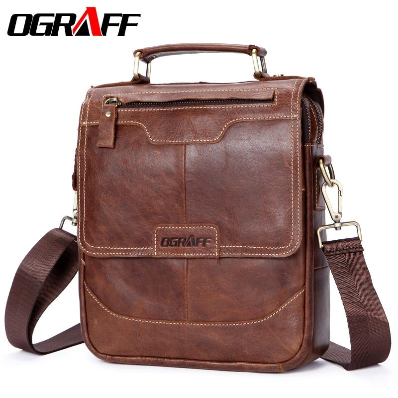 OGRAFF Genuine Leather Men's Bag Men Messenger Bag Men's Tablets Handbags Men's Briefcase Male Crossbody Bags цена